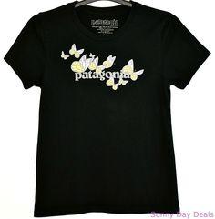 Patagonia T-Shirt Butterflies Logo Organic Cotton Crew Womens Short Sleeve M  #Patagonia #KnitTop #Casual