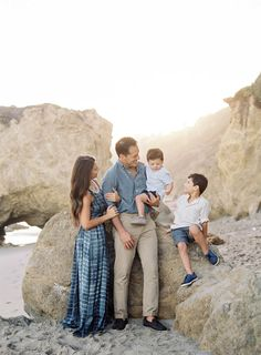 Photographer Jen Huang | Light Filled Family Shoot on Film | Contax 645 | Indigo and Ocean Blue Family Session Attire | Beach Family Shoot | JenHuangBlog.com | Family Posing