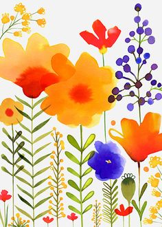 Margaret Berg Art: Yellow+&+Purple+Garden