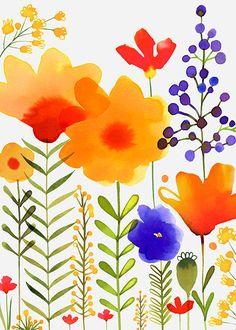 Margaret Berg Art: Yellow & Purple Garden