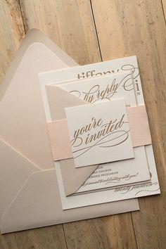 rustic chic minimalist bold spring wedding invitations/ gold glittery spring wedding invitations