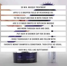 Monat mask treatment!! Amazing!! Love this stuff! Hair is silky smooth every time!! www.mandycooper.mymonat.com