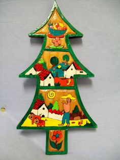 Vintage Wooden Folk Art, Evergreen Tree, Carved & Hand Painted, Ethnic, Mexico. $15.00, via Etsy.