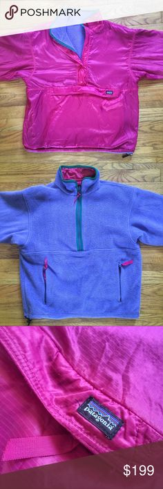 Vintage Patagonia Snap-T Reversible Fleece Jacket Vintage Patagonia Snap-T Reversible Fleece Jacket.  Fuchsia side is poly and cobalt blue side is fleece.  Also contains accents of green.  Straight out of the 80's - super rare jacket, pre-owned in great condition.  We've had one similar to this and it sold quick so don't lose it! We sell across multiple platforms and in store.  Exact measurements are 21 in pit to pit, 20 in pit to sleeve, 23 in back of the neck down. Patagonia Jackets…