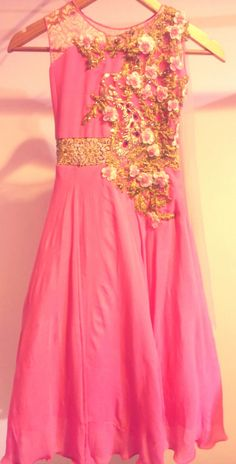 kids (girl) designer gown,( in house design).  crepe fabric ,hand embellishment elegant look .book @ whats app +918447596498