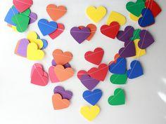 Rainbow Party Decor, Rainbow Garland, Baby Shower, Photo Prop, Heart Garland, Paper Garland, Valentine Garland, Primary Colors, Heart Banner