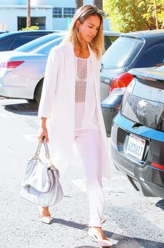 On Jessica Alba: Pink Stitch Sandy Top ($99); French Connection Sorbet Tapered Trousers ($188) in Orchard Ice; Jimmy Choo shoes; Dolce & Gabbana bag; Bvlgari Solid Gold Automatic...
