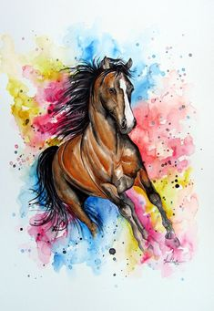 Gallop of Colour- horse watercolour pai Watercolor Horse, Watercolor Animals, Watercolour Painting, Horse Drawings, Art Drawings Sketches, Animal Drawings, Horse Wallpaper, Horse Artwork, Animal Paintings