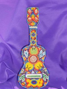 HUICHOL Beaded Wooden GUITAR!! Extremely Unique 14 inch   eBay