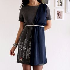 Women Winter Dress  Grey and Navy Blue handmade by ZoeChen on Etsy, $78.00