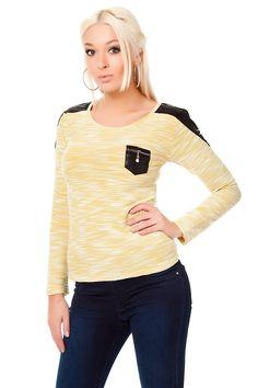 #Pullover Shirt mit Lederimitat Deko meliert