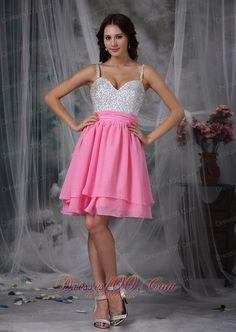 2013 Pink and White Column Straps Mini-length Chiffon Beading Prom Dress - US$139.69 valmistuminen mekot