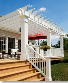 Want a deck just like this! Pergola/Deck - I like the openness but with a natural wood color. maybe no middle colum, only do half of our deck, to the chimney. Building A Pergola, Deck With Pergola, Outdoor Pergola, Backyard Pergola, Pergola Carport, White Pergola, Pergola Lighting, Small Pergola, Pergola Swing