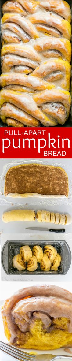 ***Pull Apart Pumpkin Bread ~ you'll make this Pumpkin Bread over and over. Cinnamon rolls + pumpkin pie + amazing cinnamon glaze = this pull-apart pumpkin bread! It melts in your mouth! Thanksgiving Recipes, Fall Recipes, Holiday Recipes, Pumpkin Bread, Pumpkin Spice, Bread Recipes, Cooking Recipes, Delicious Desserts, Yummy Food
