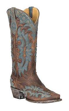 ae0cae299b Cavender's by Old Gringo Women's Brass Brown Goatskin with Topeka Turquoise  Laser Overlay Western Snip Toe Boots