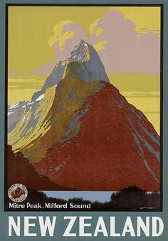 Vintage New Zealand Mitre Peak Milford Sound Travel Poster