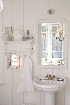 Vintage white cottage bathroom. Easy and cheap way to cover ugly tile