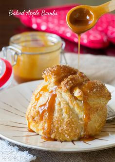 """Baked Apples at their best! This baked apple recipe, lovingly called """"Apple Bombs"""" is a holiday favorite, and is so easy to make. Like an easy apple pie (apple pie cookies puff pastries) Baked Apple Dessert, Apple Dessert Recipes, Köstliche Desserts, Apple Recipes, Sweet Recipes, Healthy Recipes, Sweet Desserts, Fall Recipes, Healthy Foods"""