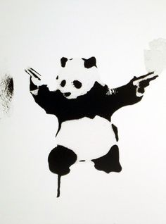 """Banksy image, framed and mounted print: 18 x 14 inches framed price This is """"Panda Shooter"""" from the Waldock Gallery in Dublin. Banksy Canvas Prints, Canvas Artwork, Banksy Images, Banksy Graffiti, Artwork Online, Tag Art, Art Forms, Design Art, Street Art"""