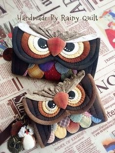 KUFER z artystycznym rękodziełem : Quilt-owe torebki, port Owl Sewing, Sewing Crafts, Sewing Projects, Fabric Bags, Felt Fabric, Patchwork Bags, Quilted Bag, Owl Bags, Owl Quilts