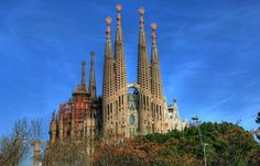 Sagrada-Familia, a Roman Catholic church in Barcelona, Catalonia, Spain, designed by Catalan architect Antoni Gaudí (1852–1926).  Begun in 1882, the structure is not scheduled to be complete until 2026.