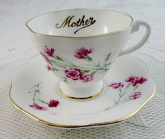 "Foley ""Mother"" Tea Cup and Saucer with Pink Carnations, Mother's Day Gift…"