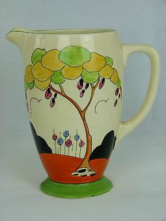 A V Rare Clarice Cliff Bizarre Tulips Pattern Jug. House, Flower & Tree Design +