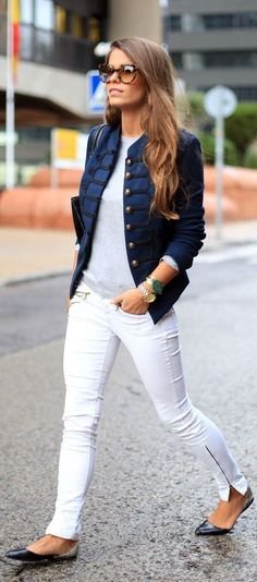 Gray Tee With White Casual & Navy Blue Stylish Jacket