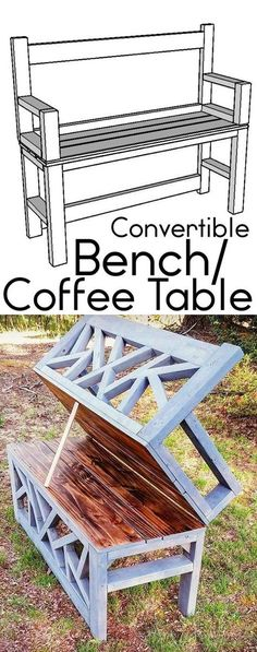Ted's Woodworking Plans - HOW TO: Build a DIY Bench Coffee Table convertible ana white Get A Lifetime Of Project Ideas & Inspiration! Step By Step Woodworking Plans Woodworking Projects Diy, Woodworking Bench, Diy Wood Projects, Home Projects, Woodworking Classes, Popular Woodworking, Woodworking Store, Woodworking Equipment, Woodworking Supplies