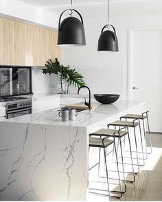 Ideas For Natural Wood Bar Top Layout Interior Desing, Home Interior, Interior Design Kitchen, New Kitchen, Kitchen Decor, Kitchen Dining, Floors Kitchen, Kitchen Layout, Kitchen Countertops