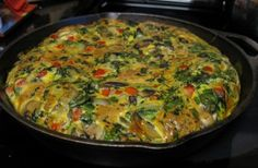 Veggie Frittata -- I just leave out the bell peppers for the nightshade allergy people, like myself.