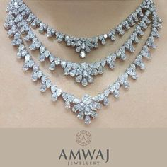 A breath-taking three strand diamond necklace from Amwaj Jewellery.