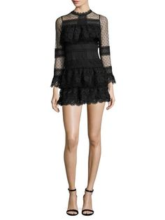 Lace And Polka Dot Flared Dress by Few Moda at Gilt