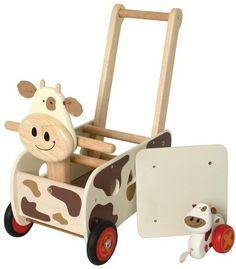 I´M Toy Schiebewagen Kuh Hochwertiger Massivholz-Spielwagen Lauflernwagen   1157 / EAN:8850714871302