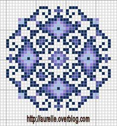 free chart blue biscornu cross stitch