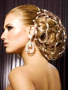 Bride's beautiful retro diamond birdcage braid chignon wedding hairstyle ideas Toni Kami Wedding Hairstyles ♥ ❷ Drop earrings