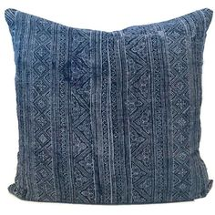 FRONT: This pillow cover is sewn from 2 pieces of vintage, batik, handwoven textile. BACK: Deep envelope enclosed linen COLORS: Batik blue and