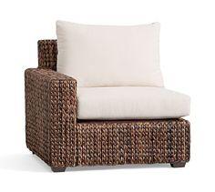 Seagrass Square Arm, Left Arm Chair, Havana Dark