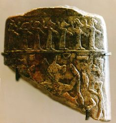 relief showing the exorcism of a sick man tormented by the goddess Lamashtu Assyria 8th c. BC