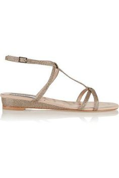 Bloomsbury glitter-finished leather wedge sandals #wedgesandals #women #covetme #lucychoilondon