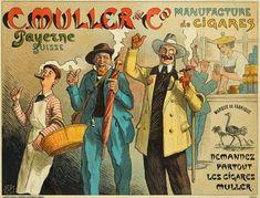Vintage poster – Manufacture de cigare C Müller & Co, Payerne Original Vintage, Vintage Posters, Advertising, Comic Books, The Originals, Comics, Smoking, Art, Poster Vintage