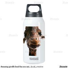 Amazing giraffe head fun zoo animal thermos water bottle