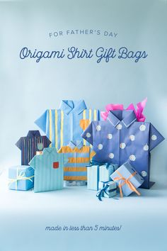 Father's Day origami shirt gift bags - The House That Lars Built Diy Father's Day Crafts, Father's Day Diy, Homemade Fathers Day Gifts, Fathers Day Crafts, Diy Paper, Paper Crafts, Origami Shirt, Gift Wraping, Christmas Origami
