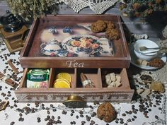 """Кухня ручной работы. Ярмарка Мастеров - ручная работа. Купить """"English Tea"""" Чайный сервировочный короб поднос. Handmade. Коричневый"""
