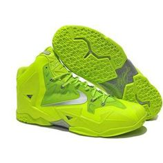 separation shoes 4acd2 73202 For Sale Fashion Fluorescence Green Silver Nike LeBron 11