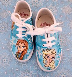 Hand painted Girls Shoes Pick Your Theme Frozen by DeliceCreative Only $49 for kids sizes personalised and great for Christmas