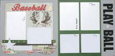 Premade Scrapbook Page 12 x 12  Double page  Layout - Baseball - Play Ball