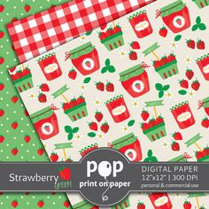 Strawberry digital paper GREEN digital paper by POPprintonpaper