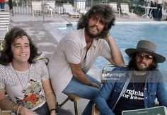 Pop vocal trio the Bee Gees, USA, 1975. Left to right: Robin, Barry and Maurice Gibb (1949 - 2003).
