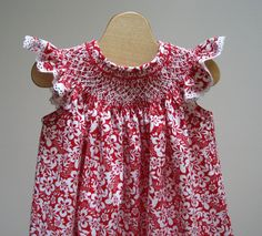 Smocked Bishop Dress Red and White Custom sizes by leapinglizzie